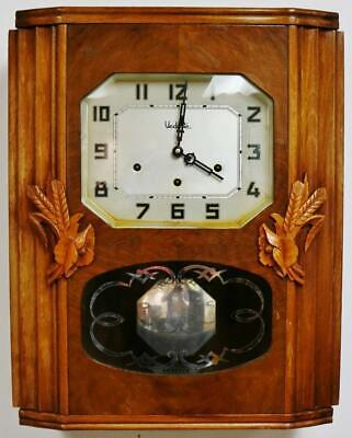 Antique Art Deco French 8 Day Westminster & Ave Marie Chimes Musical Wall Clock