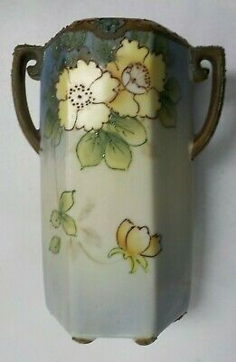 Vintage Nippon Hand Painted Beaded Double Handled Porcelain Vase