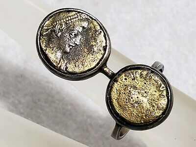 ANTIQUE Egyptian ANCIENT ROMAN 2 HEADS COIN STERLING GOLD RING RARE STAMP