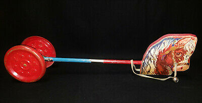 """Early Vintage GONG BELL Mfg Co. CHIME HOBBY HORSE with Bell Works 28"""""""