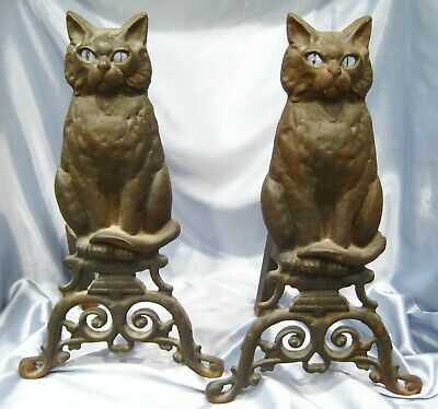 Pair of Vintage Heavy Cast Iron Figural Black Cat Glass Eye Fireplace Andirons