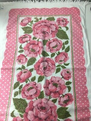 Vtg Cannon Bath Towel Floral Pink Flowers Roses Made In USA
