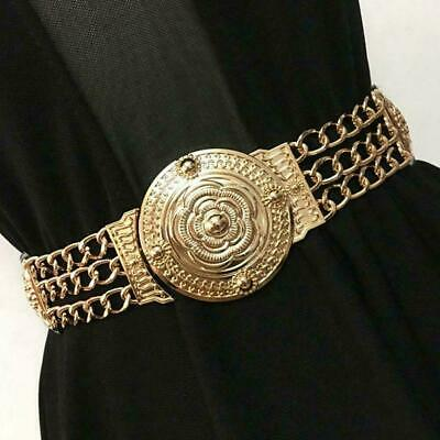 Vintage Women Gold Metal Elastic Stretch Floral Waistband Belt Wide Buckle J0M4