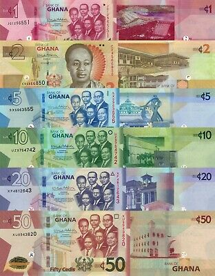 Ghana 6 Note Set: 1, 2, 5, 10, 20 & 50 Cedis (2017/2019) - p37-p42-New UNC