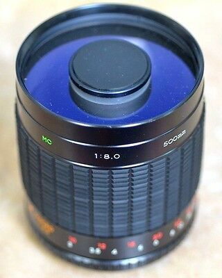Rokinon 500mm f/8 Mirror Lens with case for Digital SLR and 35mm film cameras