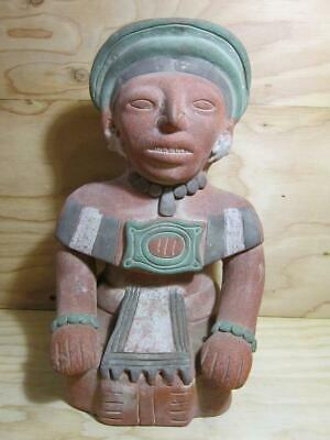 "Huge 15"" Vintage Pre-Columbian Aztec Clay Statue * Mayan Terra Cotta Sculpture"