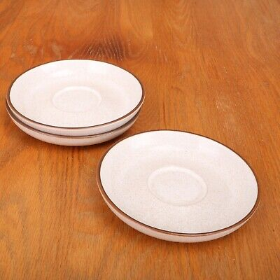 3 Denby Brown Stoneware Saucers Made In England