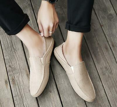 Mens Breathable Gommino Shoes Slip On Driving Espadrille Moccasins Loafers Hemp