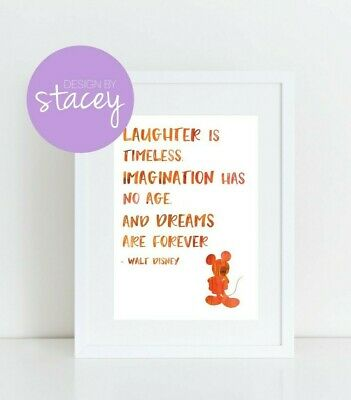A4 Print Nursery Bedroom Wall Art Decor - Mickey Mouse Disney Quote Watercolour