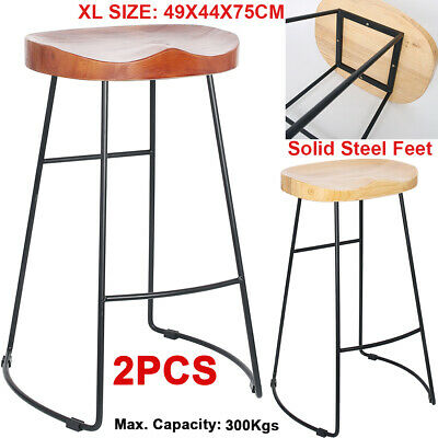 4PCS Vintage Bar Stools Metal Wooden Industrial Retro Kitchen Pub Counter Chairs