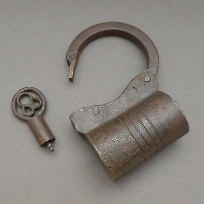 French, Antique Large Iron Padlock with Key.