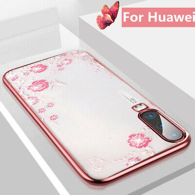 For Huawei P30 Pro P20 Mate 20 Lite Luxury Diamond Plating Slim Clear Case Cover