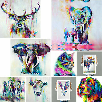 Modern Art Oil Painting Canvas Print Elephant Deer Picture Home Room Decoration