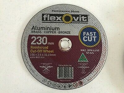 10 X Flexovit 230mm Cut Off Wheel, Cutting Disc aluminium, copper, brass, bronze
