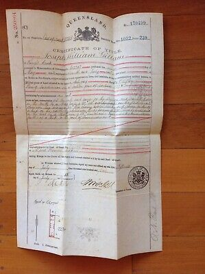 1904 Antique Handwritten Certificate of Title on Parchment Clifton Qld
