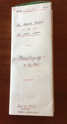 1905 Antique Handwritten Mortgage on Stock Legal Doc Clifton Qld