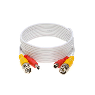 Security Camera Cable Wire CCTV Video Power 10 FT BNC RCA Cord DVR White