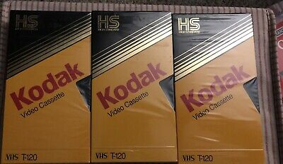 3 Blank Kodak Video Cassette T-120 High Standard VHS Tapes For Video Recorders