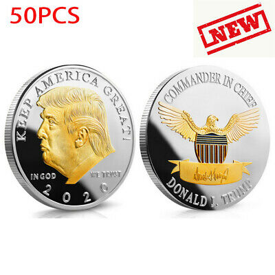 50pcs 2020 President Donald Trump Gold&Silver Plated EAGLE Commemorative Coin UP