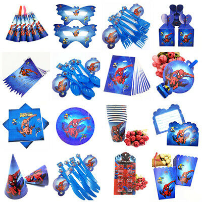 Spiderman  Birthday Party Supplies Loot Bags Filler Tableware Plates Decoration