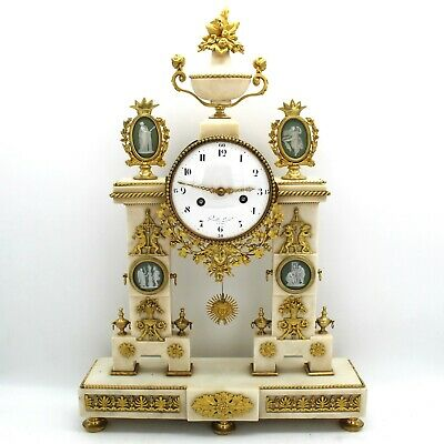 Antique Louis XVI Pendulum mantel Clock ormolu (H.59) in Bronze and Marble- 18th
