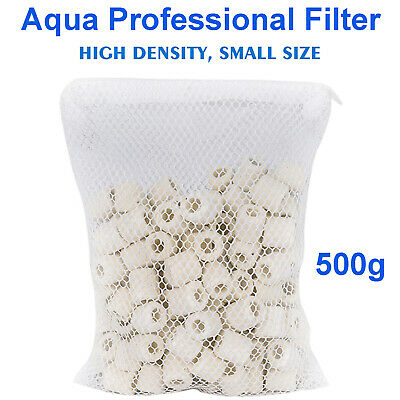 Aquarium Fish Tank Biological Ceramic Rings Filter Media with Mesh Bag 500g/pack