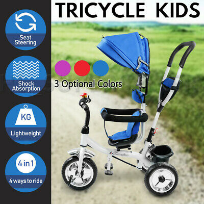 Foldable Kids Tricycle Bike Toddler Trike Ride-On Stroller Canopy Parent Push AU