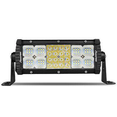 """Quad-Row 7inch 768W LED Light Bar Combo Offroad Driving Lamp 4WD Tractor 6'' 9"""""""