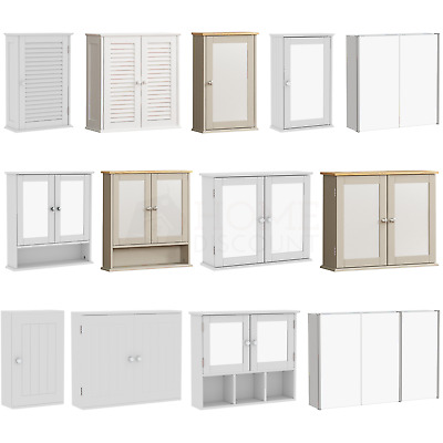 Bathroom Cabinet Wall Cupboard Mounted Storage White Furniture Mirrored Unit
