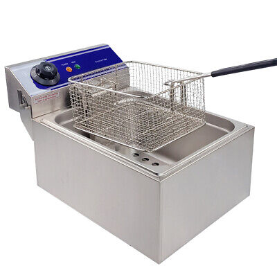 10L Commercial Electric Deep Fryer Countertop Basket Fat Chip Stainless Steel