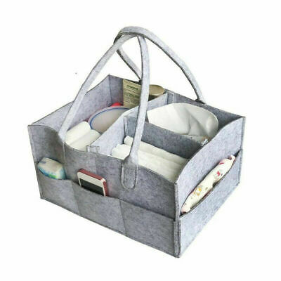 Baby Diaper Organizer Caddy Felt Changing Nappy Kids Storage Carrier Bag N7
