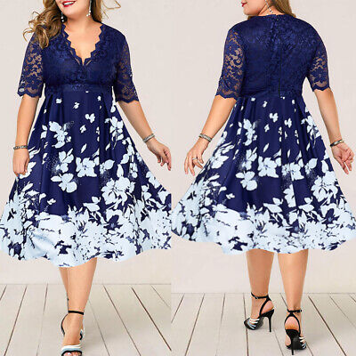 Womens Ladies Lace Foral Midi Dress Formal Evening Party Cocktail Prom Ball Gown