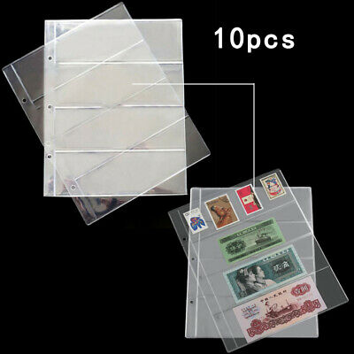10 Pc Note Banknotes Currency 4- Pocket Holders Pages Album Paper Money Sleeves