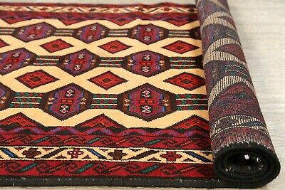 CLEARANCE Geometric Hand-Knotted Wool Balouch Afghan Oriental Area Rug 3x6