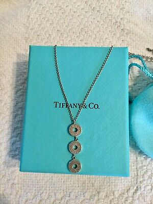 Tiffany & Co. Sterling Silver 1837 Triple 3 Circle Disc Drop Pendant Necklace