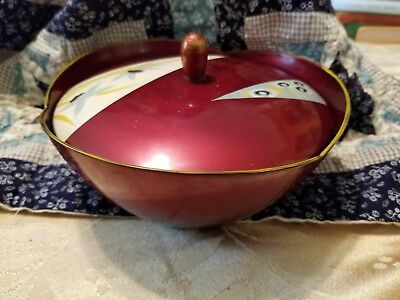 Vintage Japanese Maroon Lacquer-ware Lidded Bowl with Design On The Lid