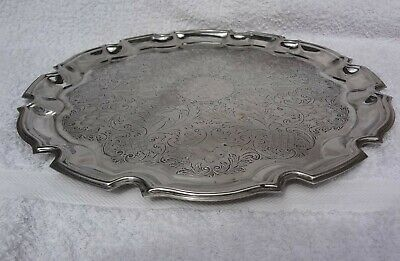 Vintage Silver Plated  Chased  Drinks Serving Tray