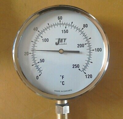 Jet 150mm Temperature gauge. thermometer f and c bottom half inch.