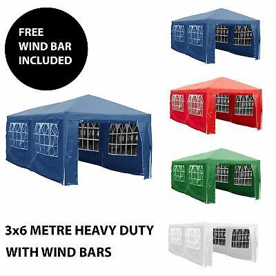 3x6m Sides Gazebo Marquee Tent Garden Party Waterproof Canopy Shelter Windbars