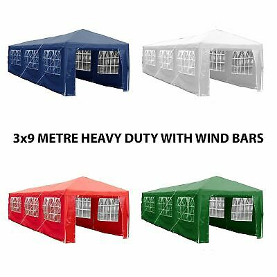 3x9m Sides Gazebo Marquee Tent Garden Party Waterproof Canopy Shelter Windbars