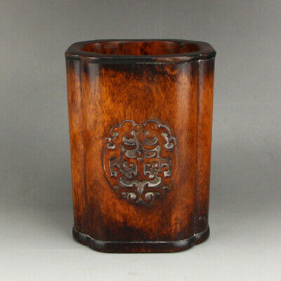"""6"""" Chinese old handcarved huanghuali wood Beast face statue Brush Pot"""