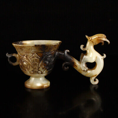 "5"" Chinese 100% Natural handcarved hetian old jade beast statue cup"