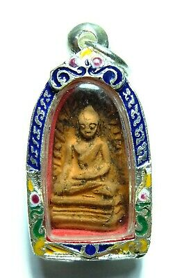 Phra Rod Lumpoon  Rare Old Antique Clay Thai Buddha Amulet