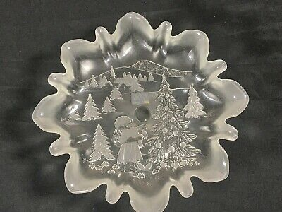 """MIKASA Celebrations Christmas  Landscape Glass  Footed Candy Dish 9.5""""Wide 4""""Tal"""