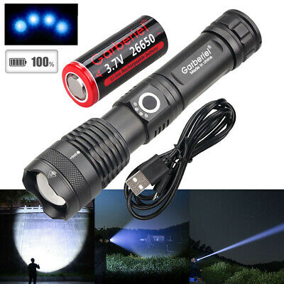500000 Lumens Zoomable XHP50 5 Modes LED USB Rechargeable 18650 Flashlight Torch