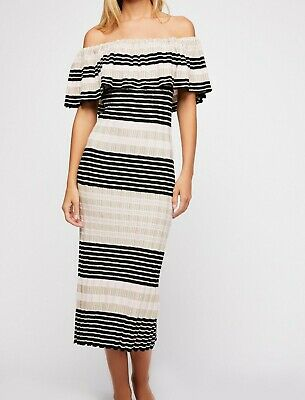 Free People NWT Dress Womens Striped Off the Shoulder Off Duty Knit Dress Small