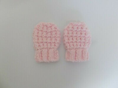 Hand Knitted Baby Mittens with Elasticated Cuff Baby Girl Pale Pink Newborn