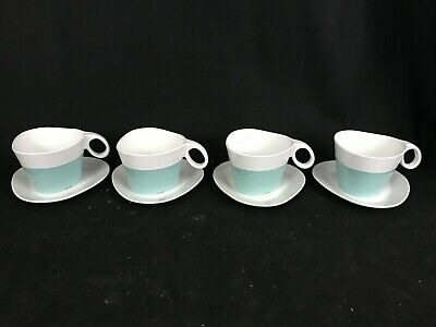 Set of 4 Mid Century TWA Melamine Coffee Cups and Saucers Atomic  Blue/White