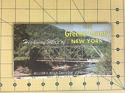 Vintage Travel Brochure Map 1981 Greene County Highway Map of New York