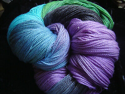 """Hand Painted: Seacell Merino SeaWool 2/6 """"Pretty Bird"""" 100 mt/ 10 avail"""